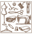 retro atelier or dressmaker tailor salon equipment vector image