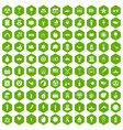100 summer holidays icons hexagon green vector image vector image