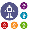 automation machine robot icons set vector image vector image