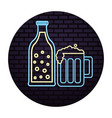 beer botlle and glass drink neon light vector image
