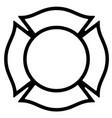 blank firefighter maltese cross outline vector image vector image