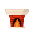 Brick fireplace icon in flat style vector image vector image