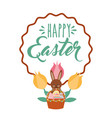 brown rabbit with basket eggs flowers vintage vector image