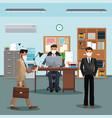 businessmen working and wearing medical mask vector image vector image