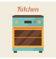 Card with kitchen oven in retro style vector image