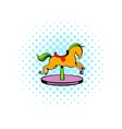 Carousel horse icon comics style vector image vector image