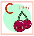 cartoon fruit alphabet flashcard c is for cherry vector image
