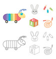children toy cartoonoutline icons in set vector image