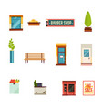 city street icons set flat style vector image