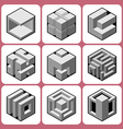 cube icon set 8 vector image vector image