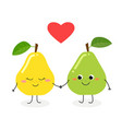 cute cartoon pears in love vector image