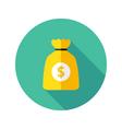 Dollar Money Bag Flat Circle Icon vector image