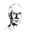 drawing of man face the head vector image