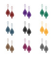 earrings with gems icon in black style isolated on vector image vector image