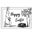 easter bunny walking to egg nest and carrot vector image vector image