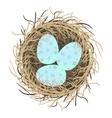 Easter eggs in nest on white vector image