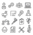 engineering line icons set on white background vector image
