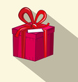 Gift Box Red and Pink Retro Flat Design Present vector image vector image