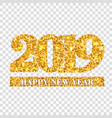 happy new year card gold number 2019 golden vector image vector image