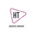initial letter ht triangle design logo concept vector image vector image