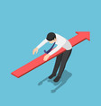 isometric red arrow piercing through body of vector image vector image