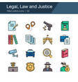 legal law and justice icons filled outline design vector image