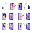 love chat online dating characters set vector image
