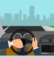 man hands of a driver on steering wheel of a car vector image vector image