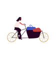 man riding bicycle with basket and shopping bags vector image vector image