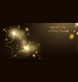 merry christmas poster with sparkler shaped star vector image vector image