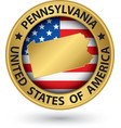 Pennsylvania state gold label with state map vector image vector image