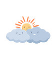 sad sun hiding behind clouds with evil smiles vector image vector image