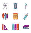 school stuff icons set flat style vector image vector image