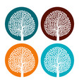 set of four white trees with leaves vector image