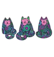 Set of three hand drawn doodle colorful cats vector image vector image