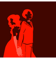 silhouette of man and woman vector image vector image