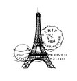 sketch eiffel tower with post stamps romantic vector image