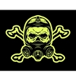 Skull wearing a gas mask and crossbones vector image