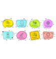 smile certificate and time icons set brand vector image vector image