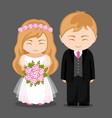 sweet newlywed couple vector image vector image