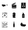 Types of waste icons set simple style vector image vector image