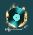 vintage retro vinyl music disc on fire vector image vector image