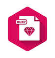 white ruby file document download rubutton vector image vector image