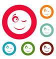 winks smile icons circle set vector image