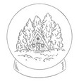 winter cabin log in a snow globe scene for vector image