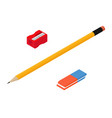 yellow lead pencil blue eraser and red sharpener vector image vector image