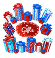 a set of boxes with christmas gifts isolated on vector image