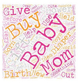 baby shower gift text background wordcloud concept vector image vector image