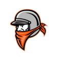 biker wearing bandanna mascot vector image vector image