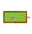 billiard table with green field wooden cues and vector image